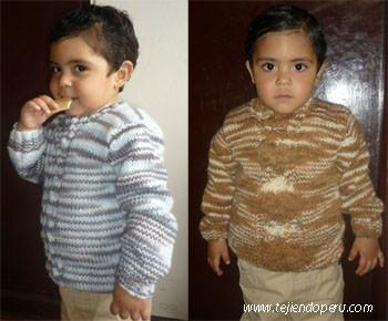 Chompa para niños de 2 años tejida en dos agujas o palitos