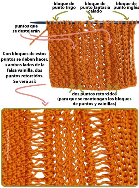punto falso vainilla dos agujas