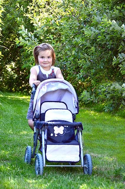La poussette pour se promener dans le jardin