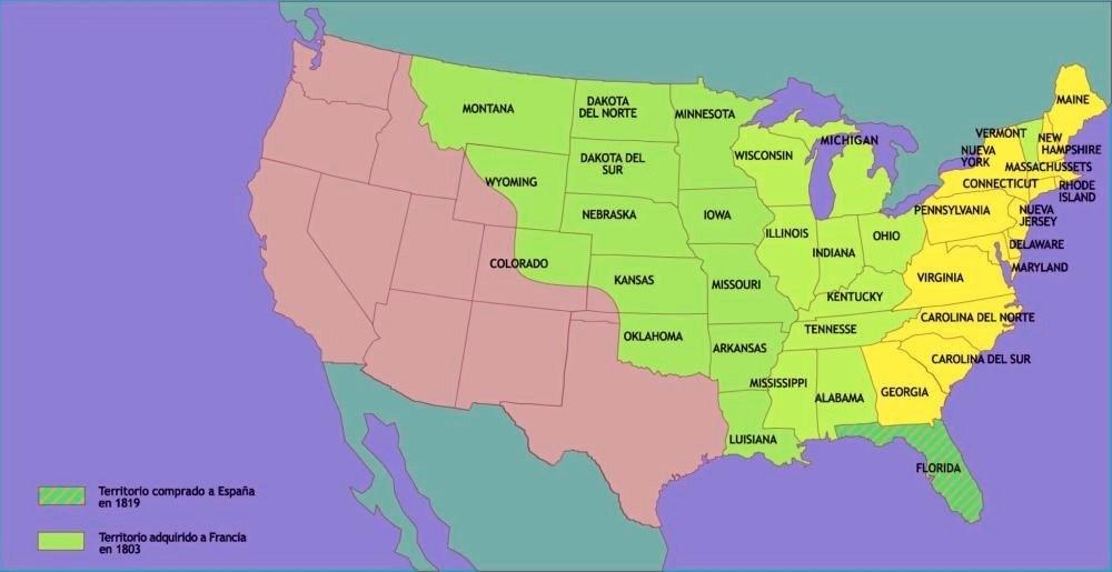 Los EE.UU. hacia 1820.
