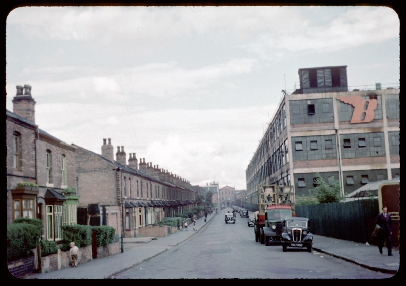 Armoury Road and the BSA photographed in 1953 by Phyllis Nicklin - See Acknowledgements, Keith Berry.