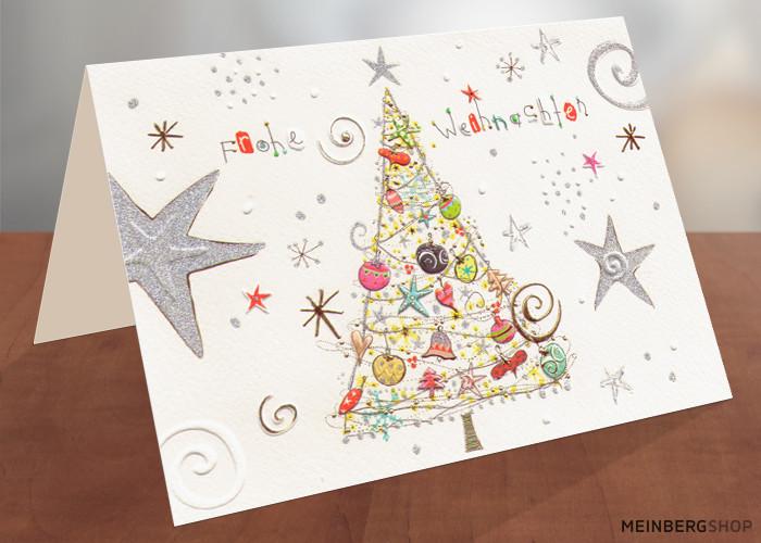 weihnachtsbaum mit silbernen sternen turnowsky kartenshop. Black Bedroom Furniture Sets. Home Design Ideas