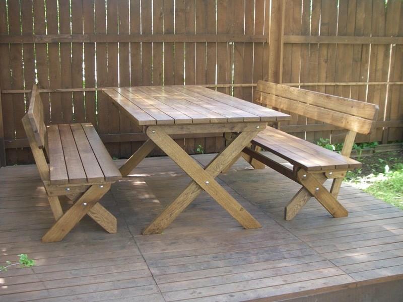 Как сделать из дерева лавку и стол