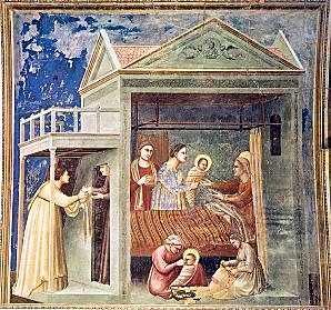 Nacimiento de la Virgen María. Fresco de Giotto. Hacia 1305 Capilla de los Scrovegni, Padua