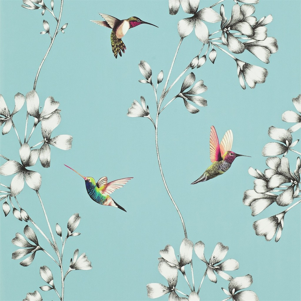 image - Lichtblauw Behang