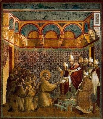Inocencio III aprueba la vida comunitaria de San Francisco. Giotto. Basílica de San Francisco de Asís,Italia