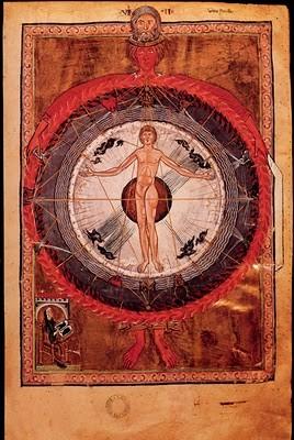 Códice de Santa Hildegarda, hombre en el centro del Universo, S XII, Bibliteca de Lucca, Italia