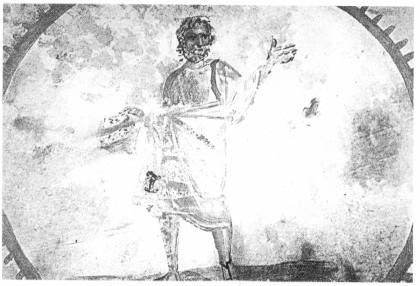 Cristo filósofo, imagen del mundo pagano, la filisofía equivalía a la sabiduría, gozaba de un gran prestigio. Sabiduría equivale a verdad , Cristo con la mano alzada dispuesto a orar con túnica romana y portando el rollo, Catacumba de Domitila, Roma.