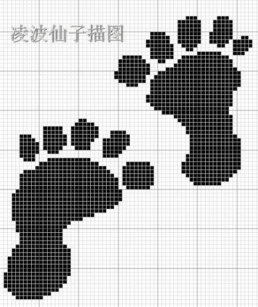 Схема вышивки лапы медведя 15
