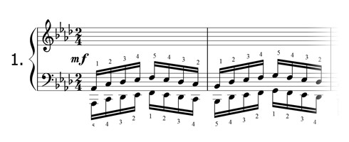 Piano technique exercise N°1 in Ab