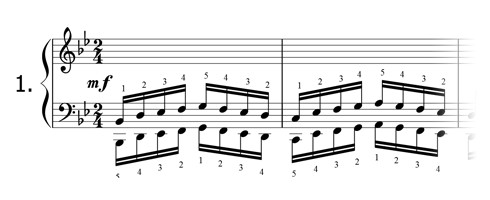 Piano technique exercise N°1 in Bb