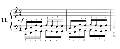 Piano technique exercise N°11 in C