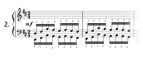 Piano technique exercise N°2 in D