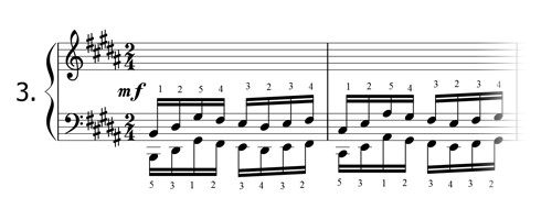 Piano technique exercise N°3 in B