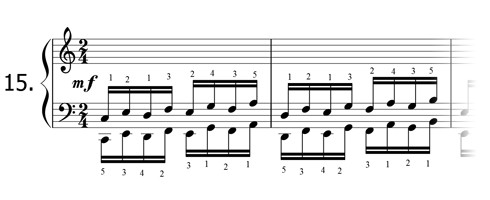 Piano technique exercise N°15 in C