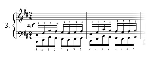 Piano technique exercise N°3 in D