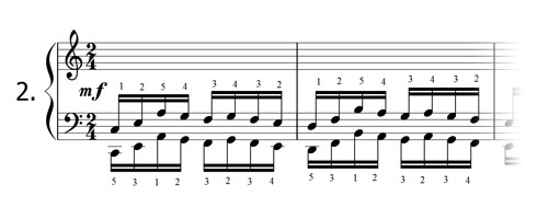 Piano technique exercise N°2 in C