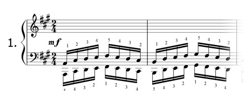 Piano technique exercise N°1 in A
