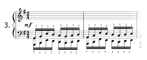 Piano technique exercise N°3 in G