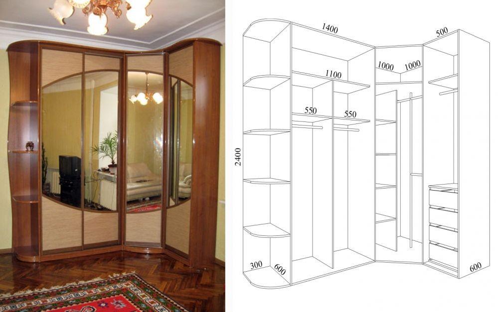Дизайн шкафов купе угловые