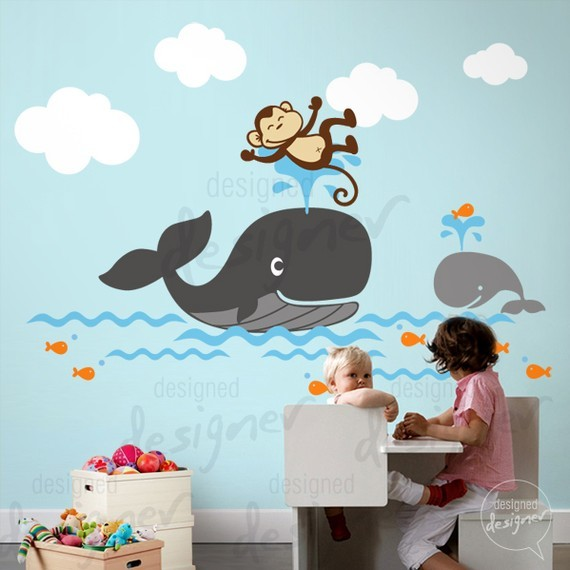 Monkey Rides With Mr Whale Wall Decal Sticker
