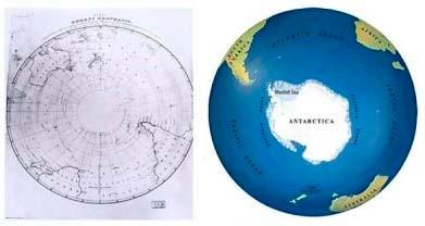 """Izquierda: Ya que la Antártida no fue """"descubierta"""" por la moderna civilización hasta 1820 no es de sorprender que este mapa del siglo 19 muestra un espacio vacío donde ahora sabemos donde la Antartida esta. Derecha: Antártida como aparece hoy en día"""