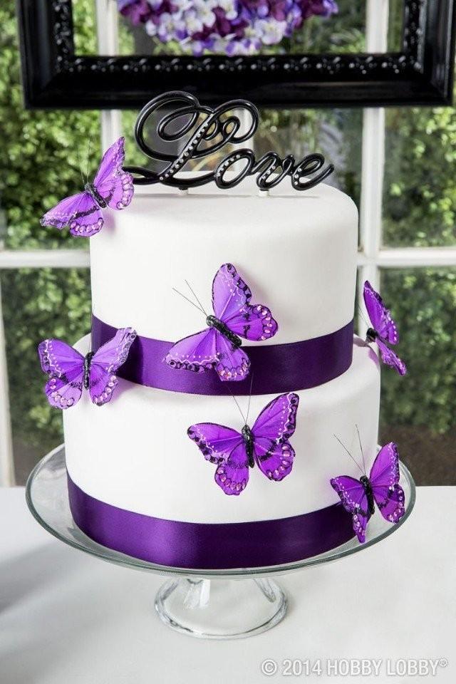 Фото тортов свадебных в фиолетовых цветах