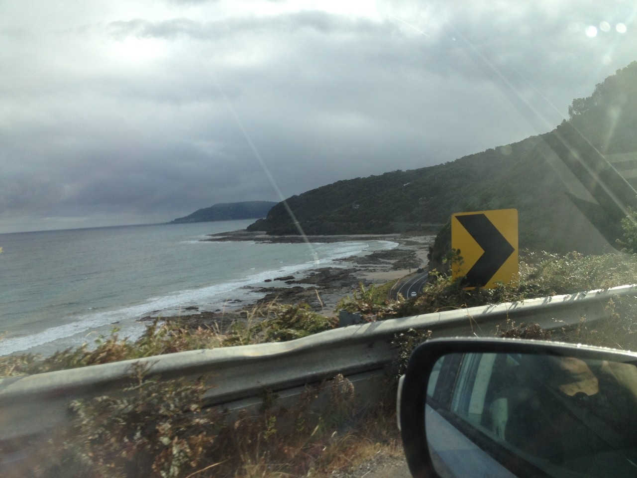 Lovely coast road! But someone seems to have attempted to get down to the beach quickly ...
