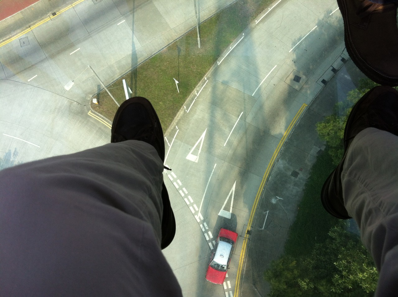 Eek! Glass floor scary! — at Ngong Ping Cable Car.