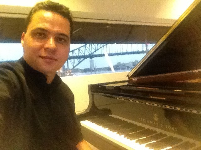 Steinway with view of Sydney Harbour Bridge ... nice! — at Sydney Opera House.