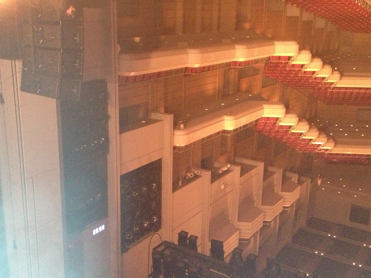 And a clock visible from the stage on the top right there --- what a great idea. Bands are often slated by stage managers for playing too long - but they seldom actually display the time so you can steer the show ... — at Orchard Hall Shibuya.