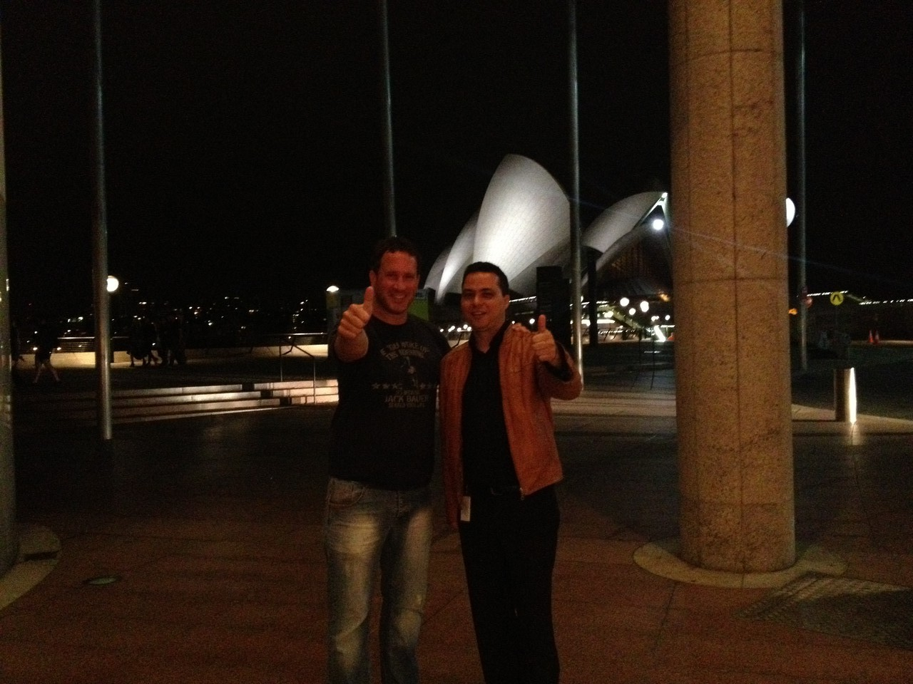 Had a drink with fellow musician Dom Domalos Kelly and couldn't resist getting a final photo of the place — with Dom Domalos Kelly at Sydney Opera House.