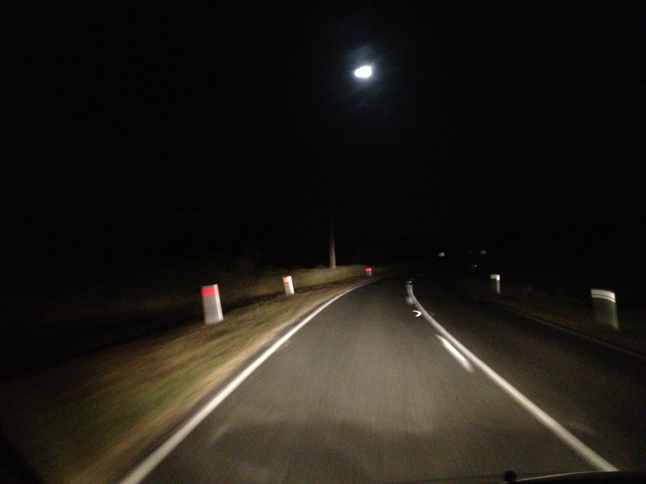 Road gets a bit straighter and moon comes out. I switch my laptop on and start answering emails, issuing invoices and doing the accounts ...