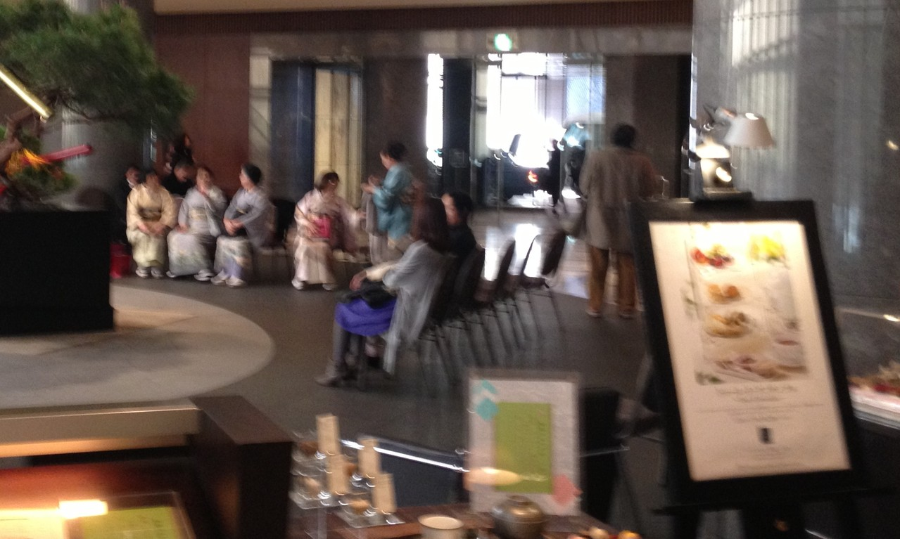 Back in the lobby I spy some elderly ladies in traditional Japanese costume - so elegant! — in Tokyo, Japan.