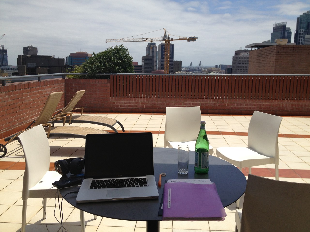 Next morning I set up my workspace, bit nicer than usual! — at Sydney.