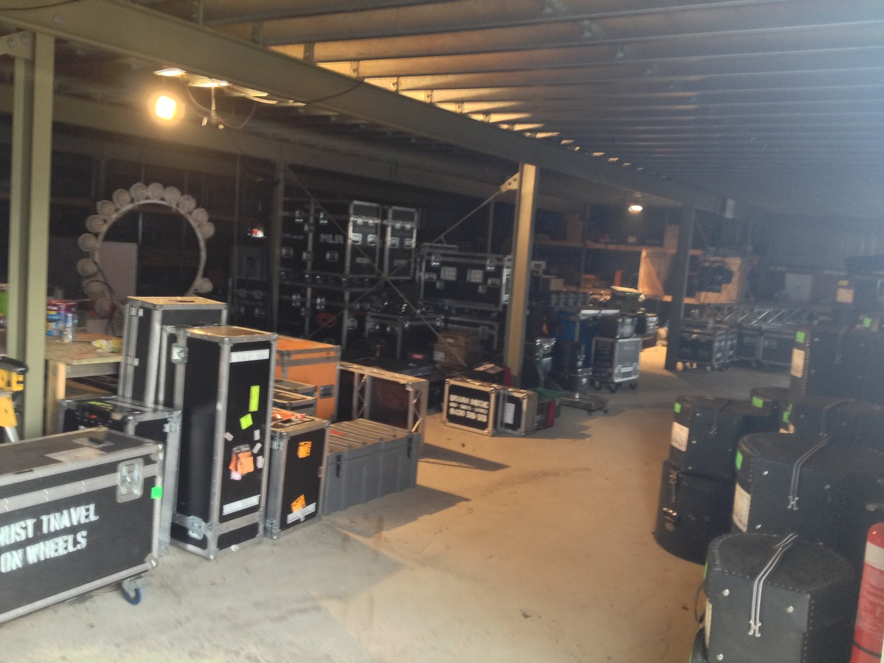 Under the stage there is a treasure trove of gear ...