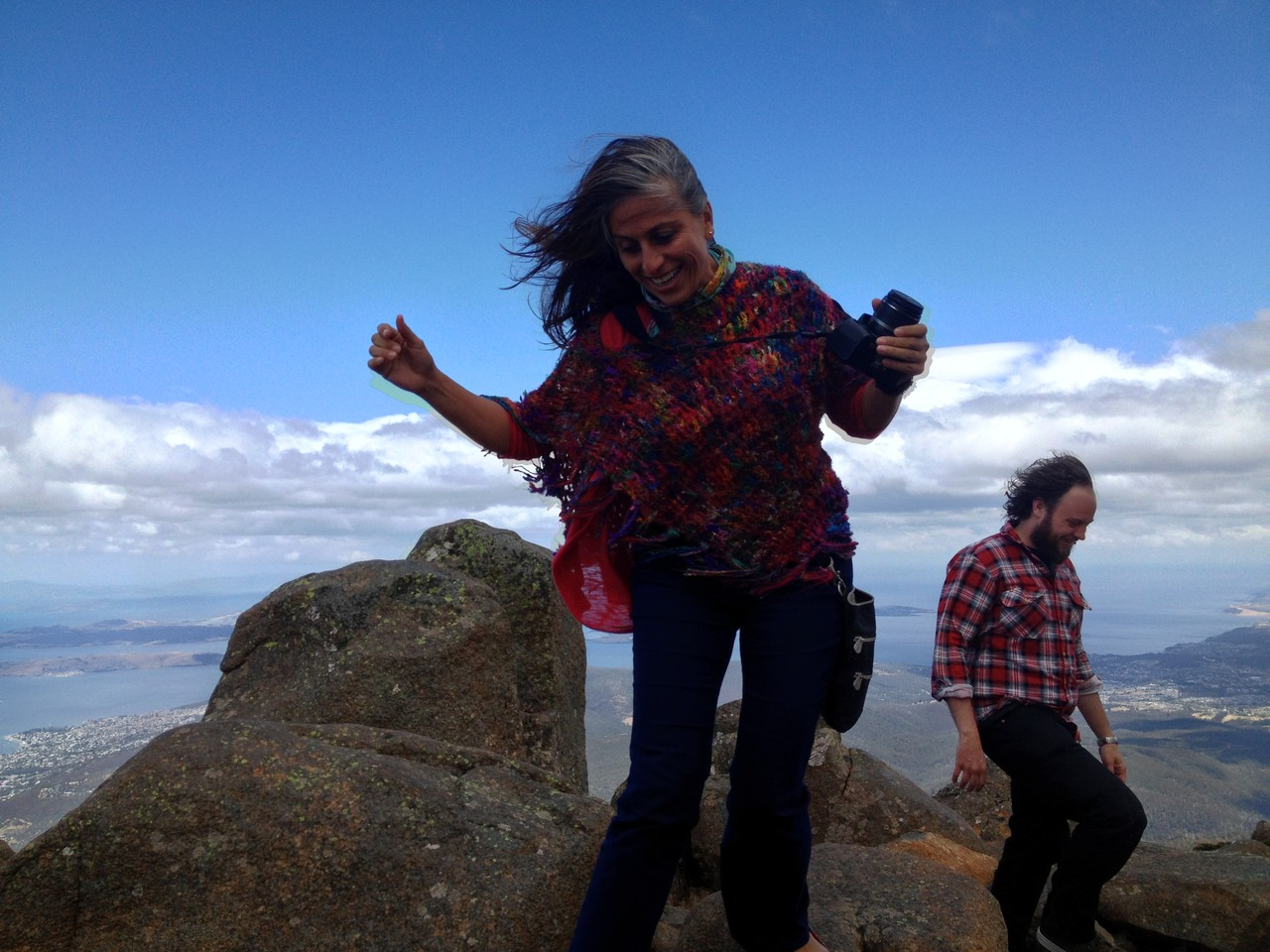 Adriana balances on a rock — with Adriana Sanchez Zoletto.