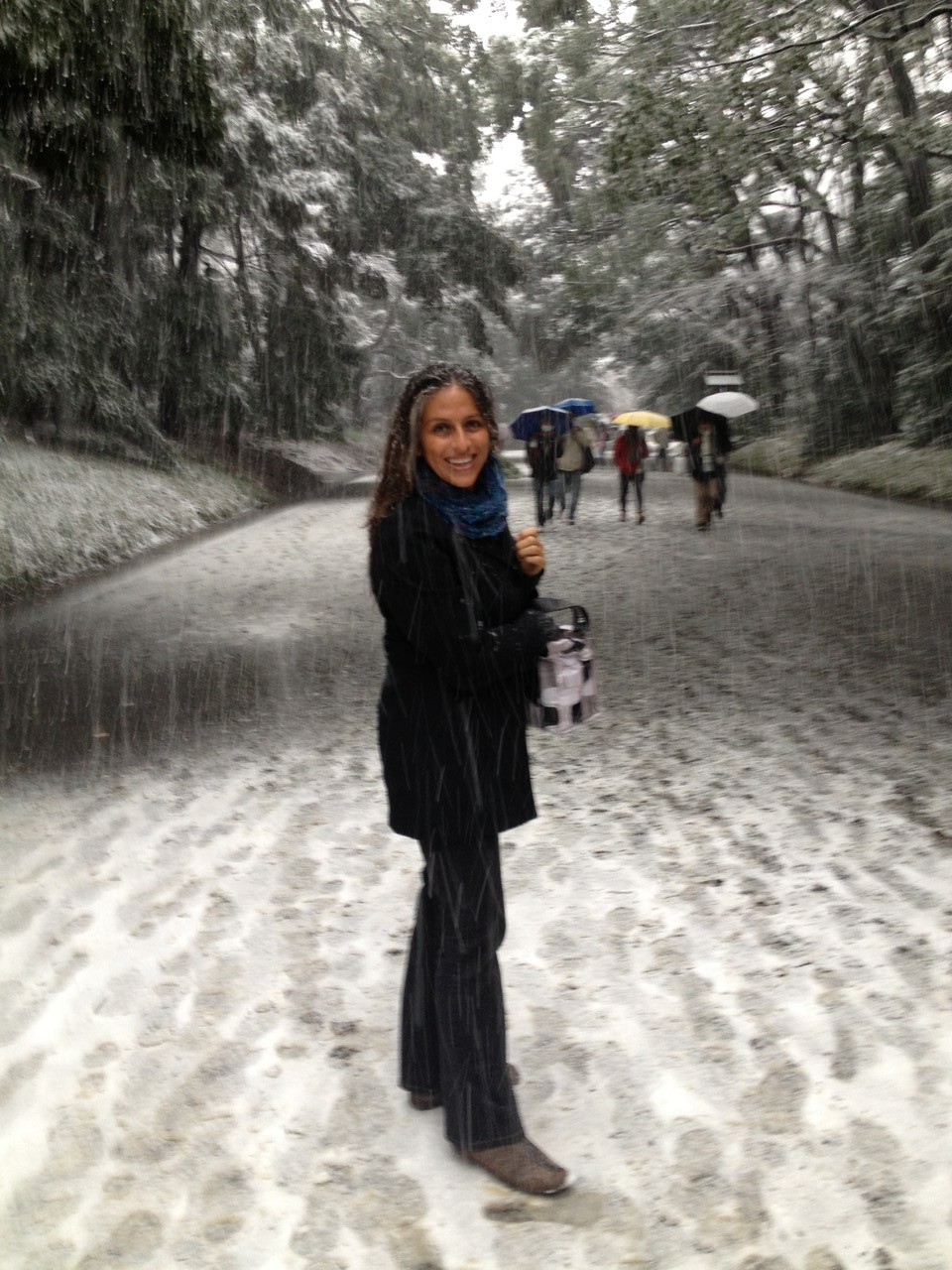 Adriana loves the snow! — with Adriana Sanchez Zoletto at 明治神宮 (Meiji Shrine).