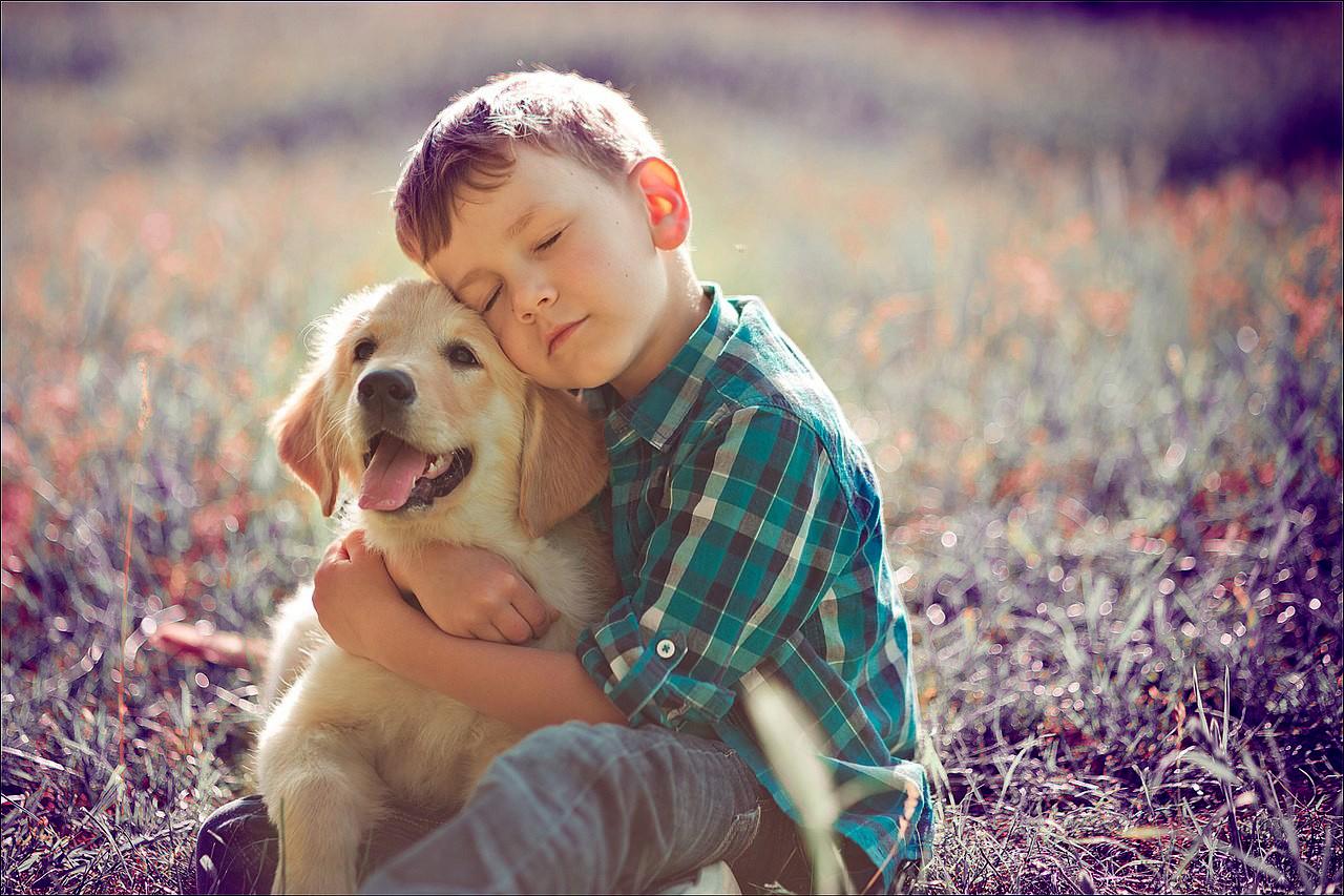 Фото детей с ретривером