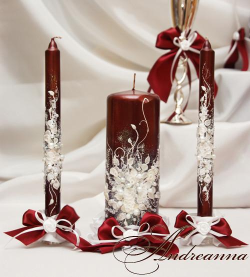 Свечи на свадьбу для семейного очага бордовые