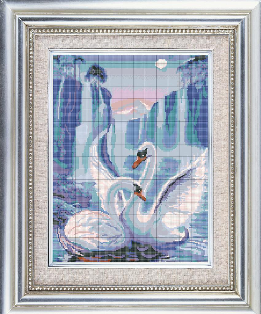 Вышивка лебеди бисером полной и частичной зашивкой по схеме 41