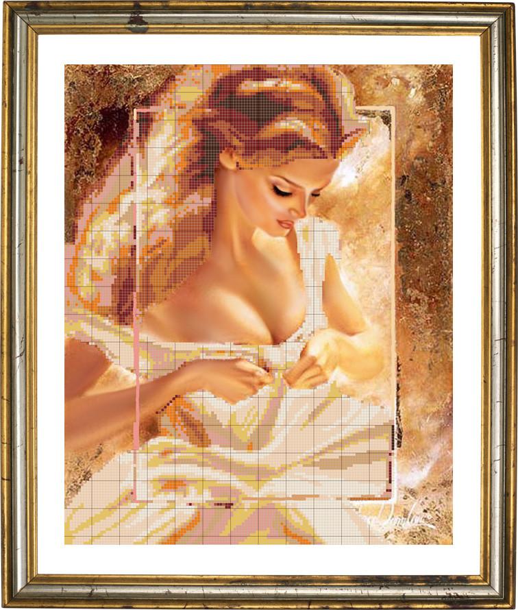 Картина для вышивки бисером женщина