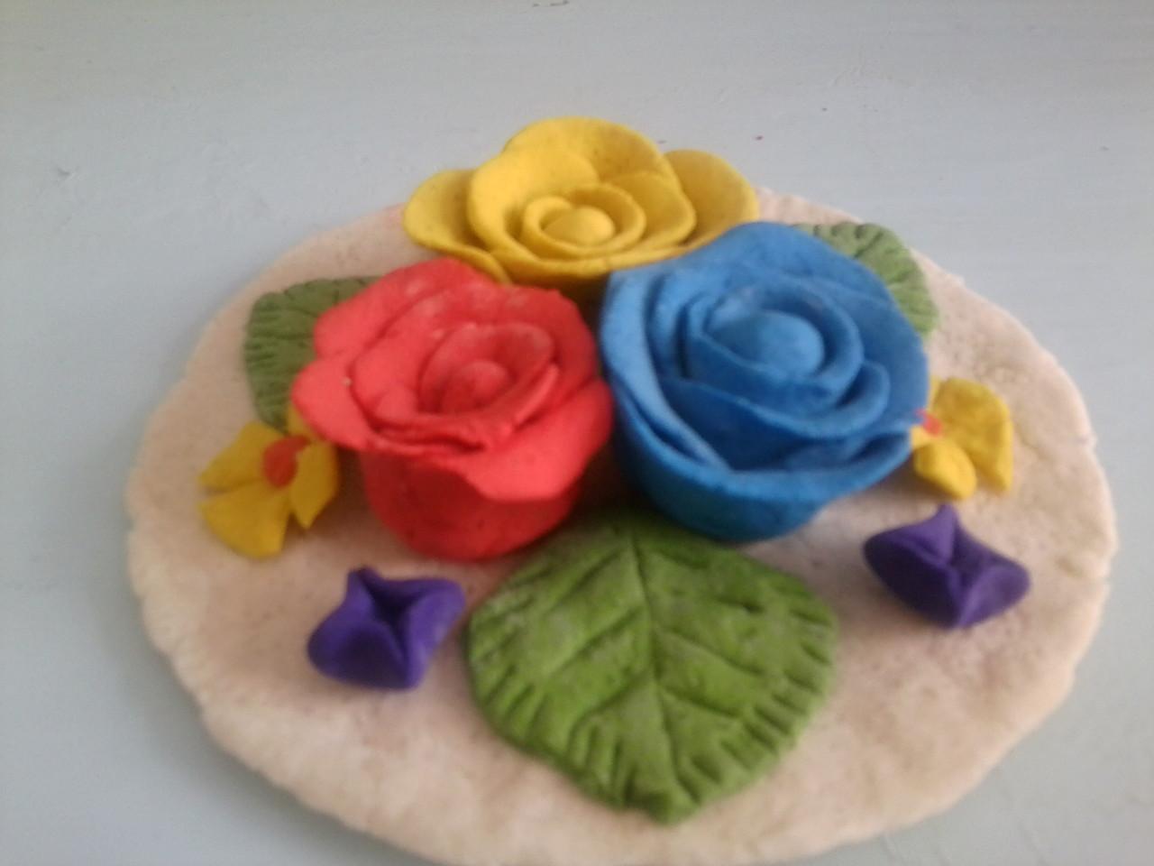 Цветы из соленого теста для детей