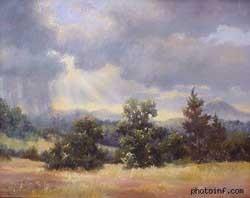 Bố cục đơn giản trong bức tranh này trông thú vị hơn vì trời mưa và ánh mặt trời xuyên qua mây. Thậm chí có thể thấy cảnh này khá là huyền bí.