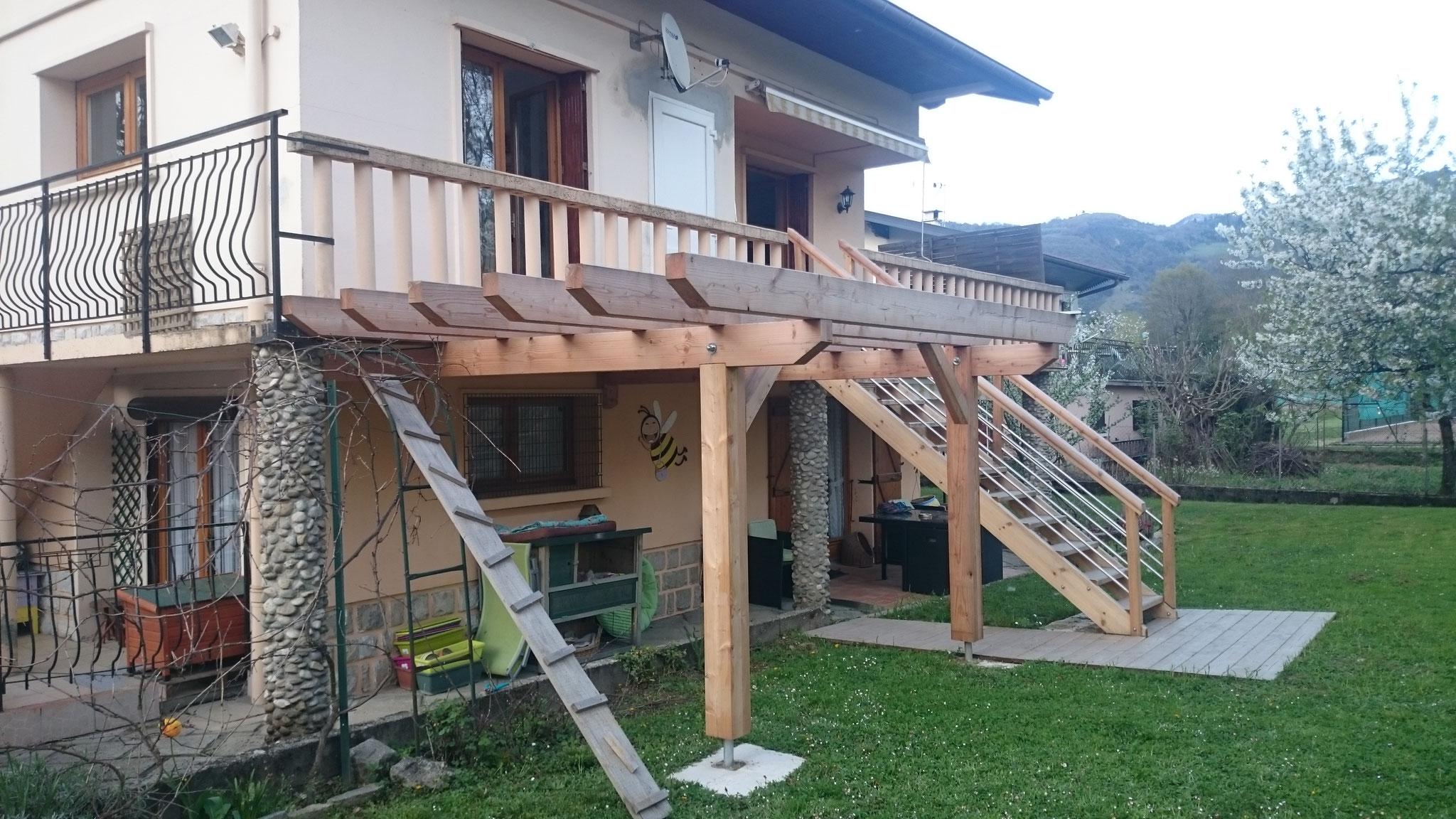 Assez Terrasse mélèze avec agrandissement balcon habillage esclier béton  EO62