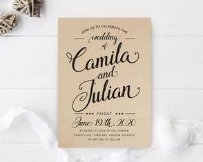 Kraft Paper Wedding Invitations LemonWedding
