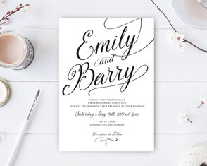 Black and White Wedding Invitations LemonWedding