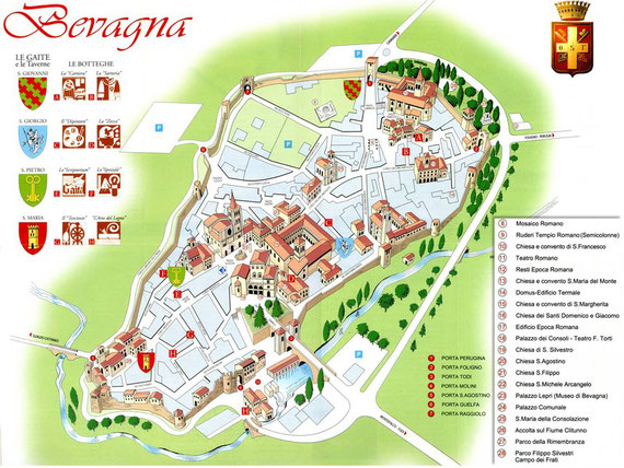 TOURIST MAP OF BEVAGNA Self catering apartment rental flat