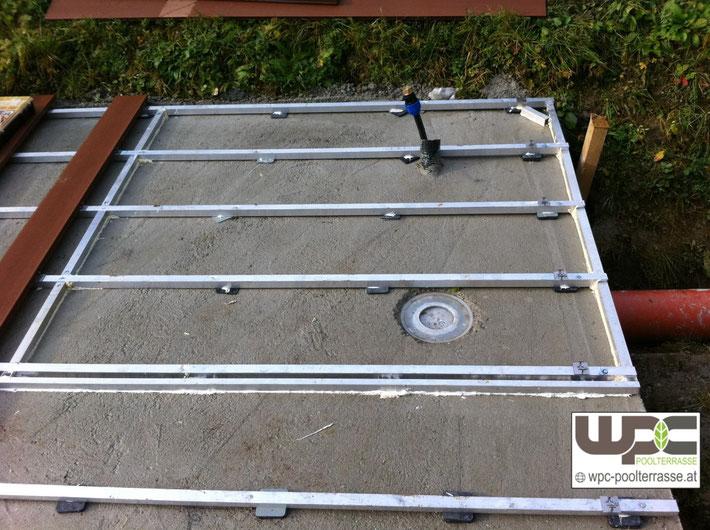 Fantastisch Bilder WPC Aluminium / Alu- Unterkonstruktion für Terrassendielen  IB08
