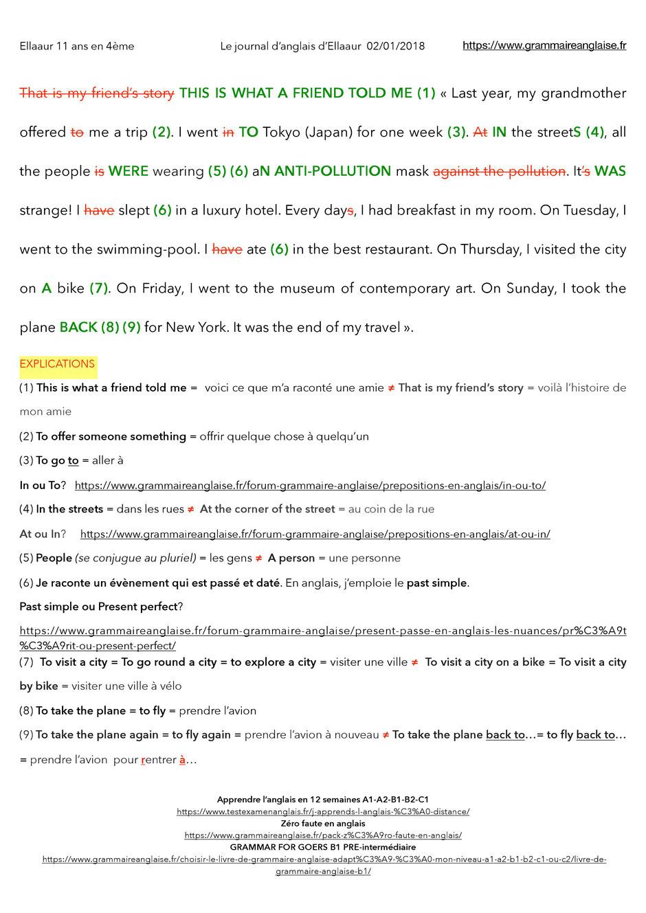 Très Journal d'anglais d'Ellaaur- 11 ans en 4ème - Grammaire anglaise  CK84